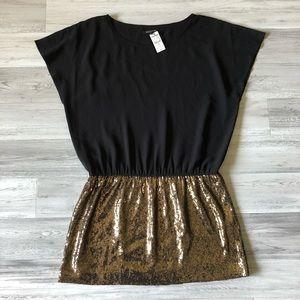 Express Black & Gold Sequin Dress